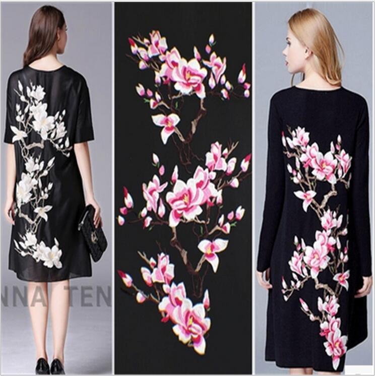 1 группа = 3 шт. кружево патч роскошное платье Чонсам аппликация для вечернего платья органзы 3D вышивка цветы магнолии ткань