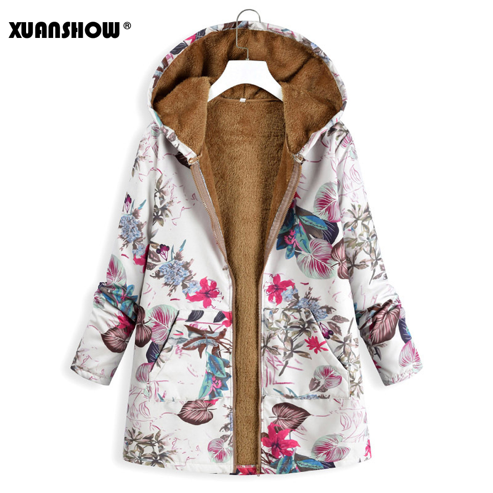 XUANSHOW Coat Hooded-Jacket Print Vintage Autumn Plus-Size Winter Women's Flocking Flowers