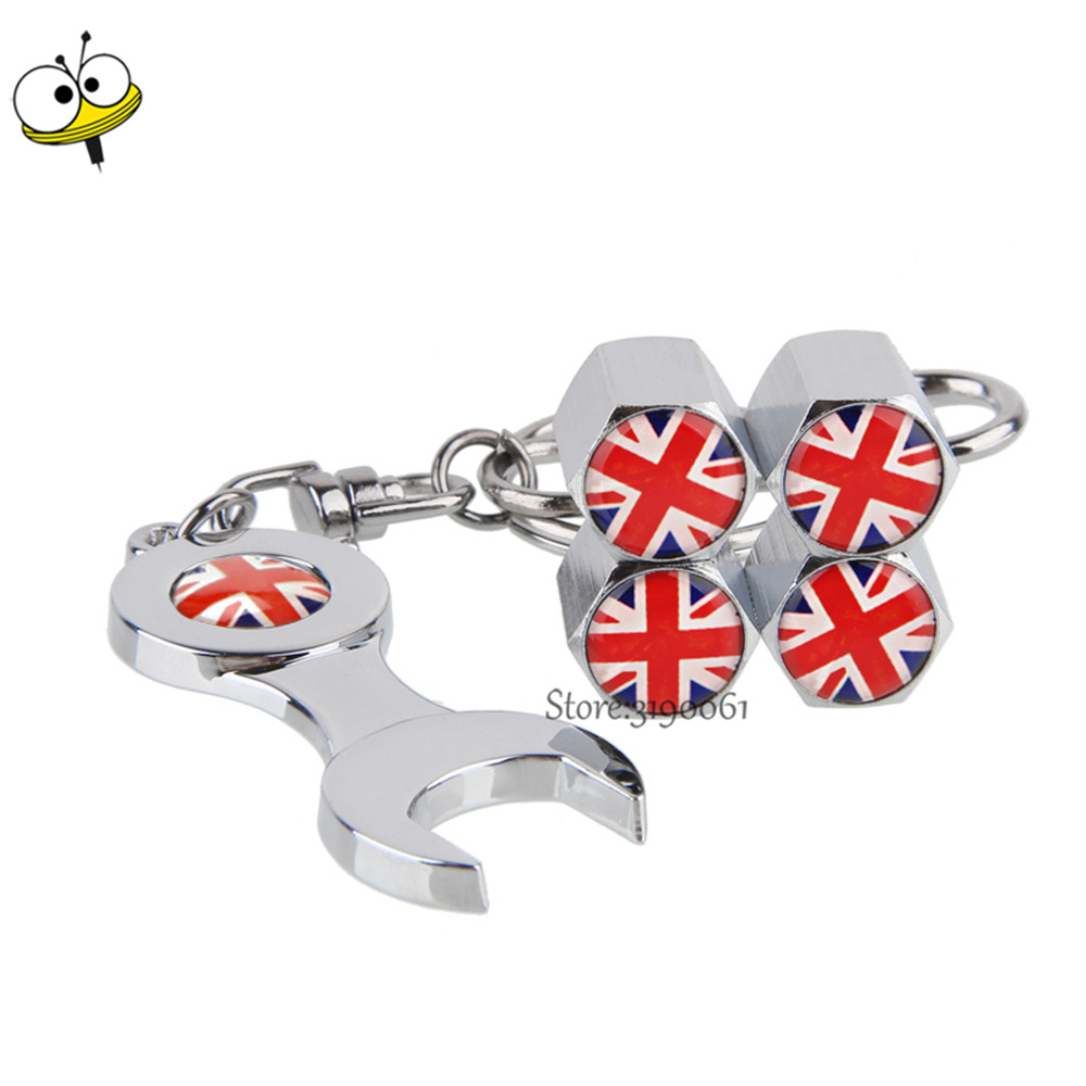 Car Accessories Wheel Tire Valve Stems Caps For British Flag Logo Keychain For MINI Cooper Jaguar Hyundai Citroen Peugeot BMW MG