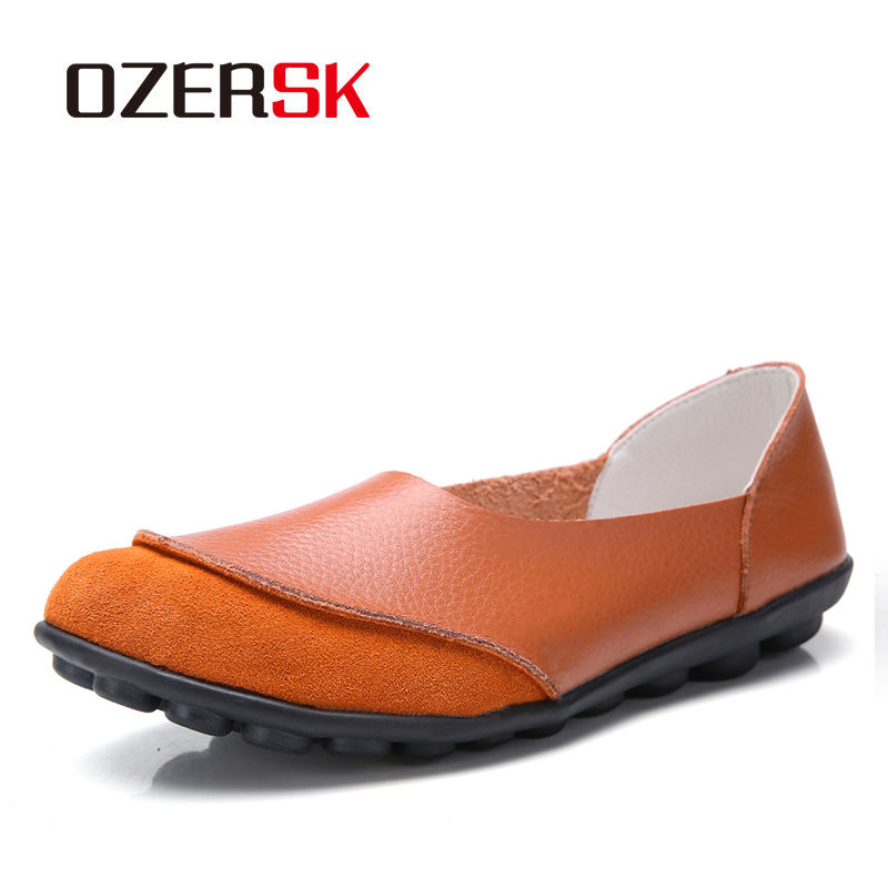 OZERSK Woman Genuine   Leather  +  Suede   Flats Shoes Round Toe High Quality Loafers Shoes Fashion Daily Casual Shoes Woman Size 35-44