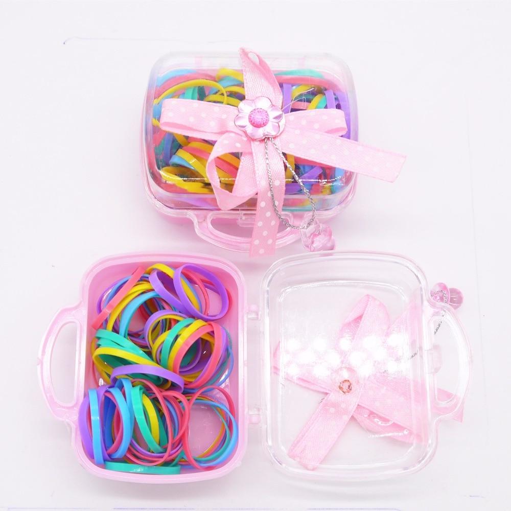 Корейский дети резинки для волос одноцветное Карамельный Цвет аксессуары для волос BB девушки резиновые веревки держатель Галстуки подарок около 100 шт./кор.