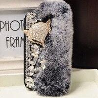 Luxury Bling Diamond Crystal Fox Rabbit Hair Rhinestone Flip Leather PU Case For Samsung Galaxy S5
