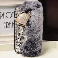 Luxury Bling Diamond Crystal Fox Rabbit Hair Rhinestone Flip Leather PU Case For Samsung Galaxy S5