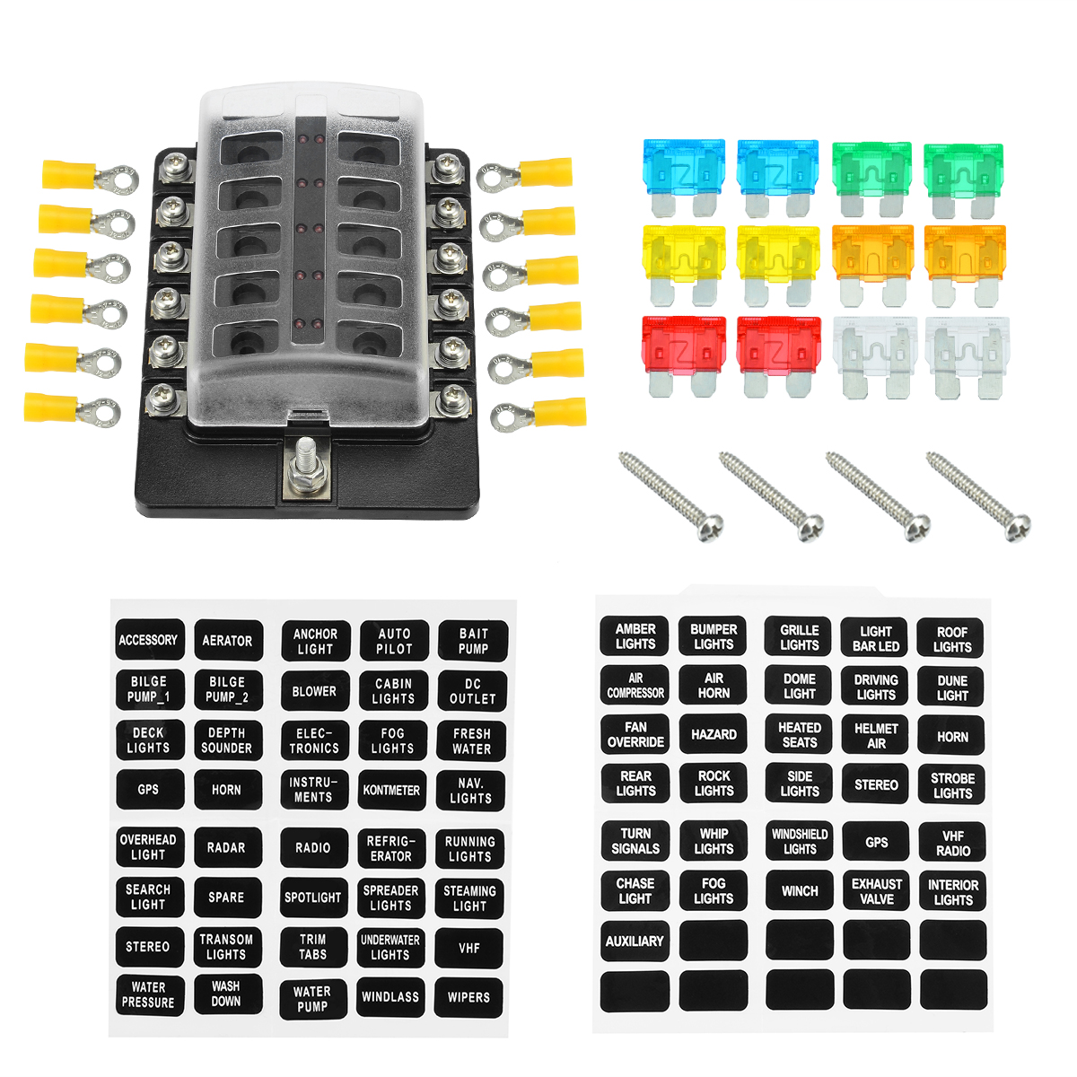 new 12 way car boat bus utv blade fuse box ato atc block holder cover 12v with red led indicator yellow terminals screws aliexpress com imall com [ 1200 x 1200 Pixel ]