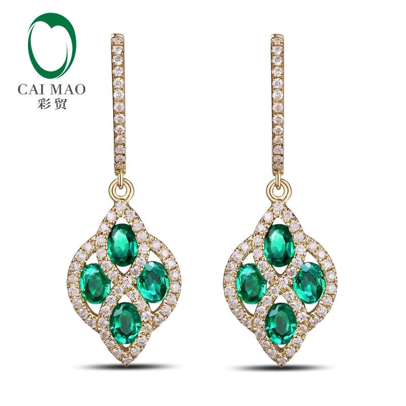 Perhiasan Caimao Romantis 14 K Kuning Emas Natural Emerald & Berlian - Perhiasan bagus - Foto 1