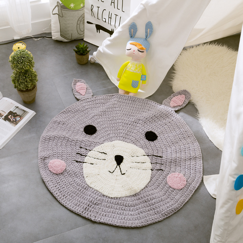 Kids Mat Cartoon Fox Bear Handmade Crochet Carpet Childrens Room Non-slip Mat 80cm Diameter Baby Game Rugs Home Decor