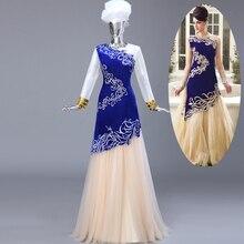 Long Sleeve High Collar Arabic Real Sample Royal Blue Custom Made Big Size Women Dress Muslim Evening Dress with Hijab