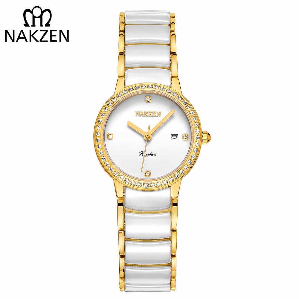 NAKZEN Classic Gold Ceramic Womens Watch Vintage Ceramic Diamond Watches Luxury Brand Watches Quartz Casual Famale Fashion ClockNAKZEN Classic Gold Ceramic Womens Watch Vintage Ceramic Diamond Watches Luxury Brand Watches Quartz Casual Famale Fashion Clock