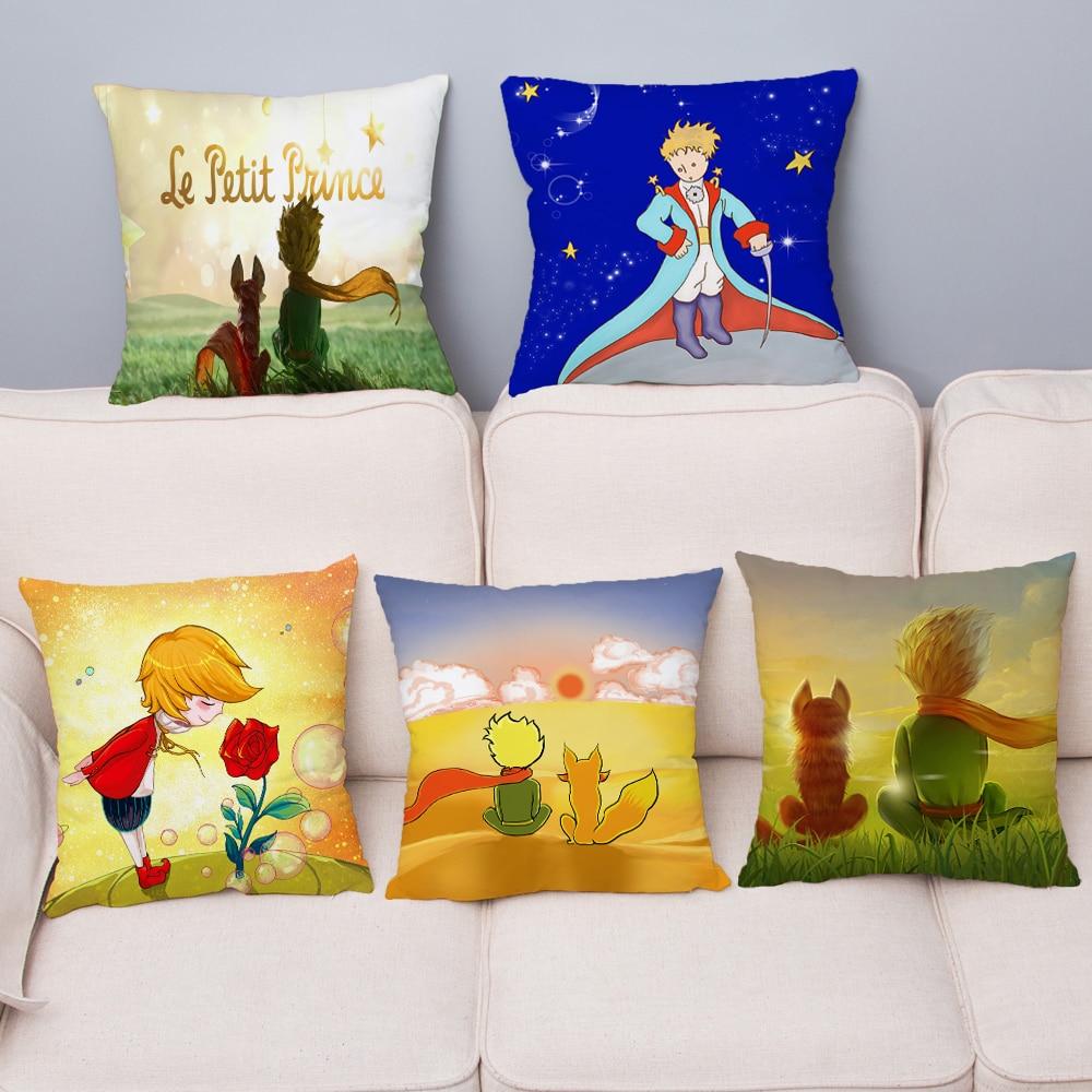 White Super Soft Short Plush Cushion Cover The Little Prince Print Pillows Covers 45*45cm Car Sofa Home Decor Throw Pillow Case