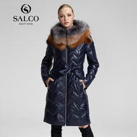 SALCO Free shipping mail female fur 2016 European and American fashion silver fox collars in ms long hooded leather feather coat