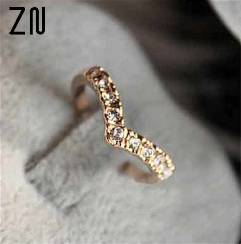 ZN 2018 Fashion Girl V shape Finger Rings Bijoux New 2018 Simple Crystal Ring For Women Wedding Jewelry Accessories Gift Cheap