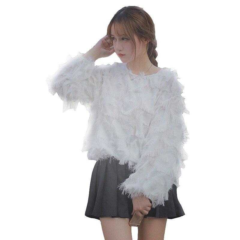 Spring Women Fashion Shirt Elegant O Neck Solid Office Wear Loose Blouse Casual OL long Sleeve Blouse Spliced Mesh Shirt Tops