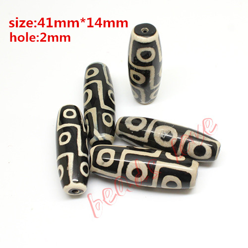 Hot!!! 40mmx15mm Prayer Mala Black Tibetan Mystical Onyx Dzi 9 Eyes Beads 2pcs/lot Free Shipping(w03452)