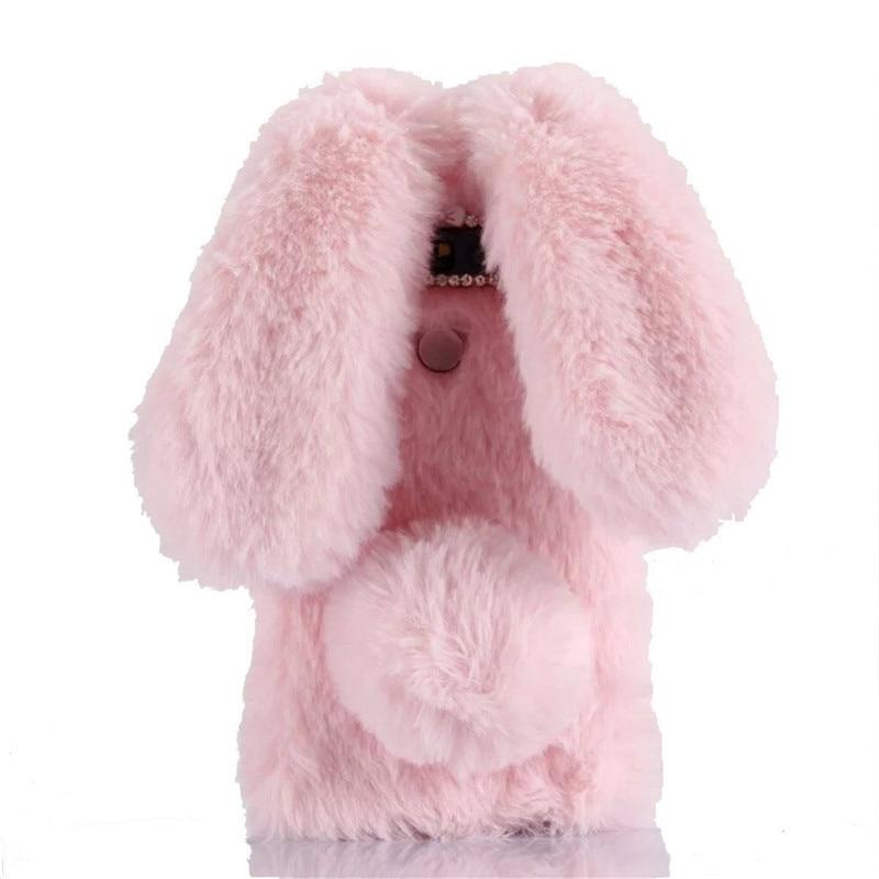 1Pcs Artificial Rabbit Ear Fur Cover For LG Google Nexus 5 5X Rabbit Fluffy Phone Case For Moto Nexus 6 Huawei Google Nexus 6P