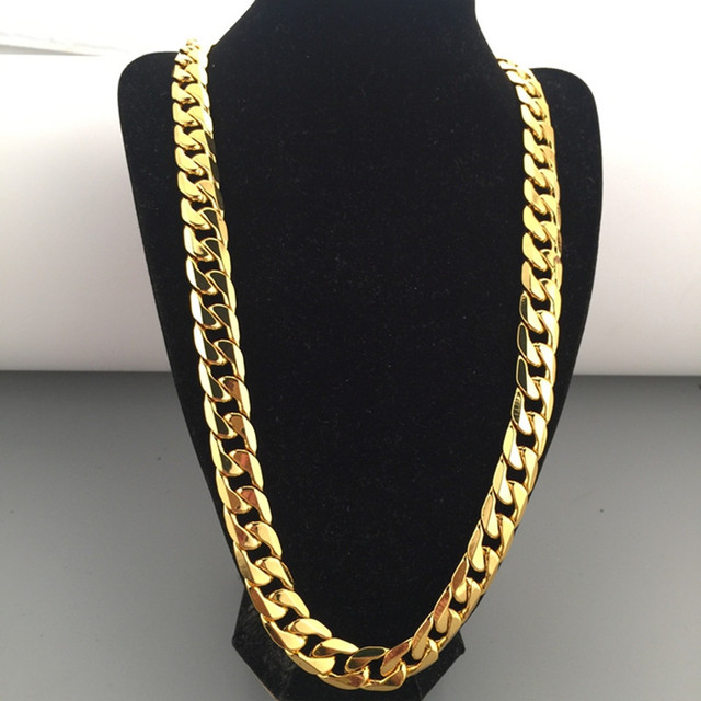 12mm Boys Mens Chain Cut Curb Chain  Yellow Gold Filled Bling Necklace GF Wholesale Jewelry Hip Hop Gift