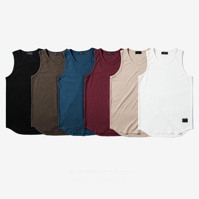 2017 nova cor sólida arco estendido trecho dos homens colete de algodão parte superior do tanque de musculação homens fitness roupas