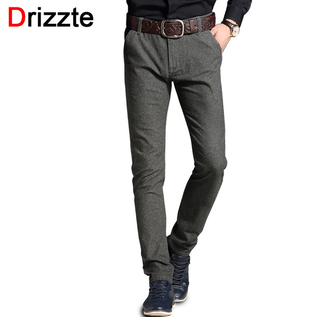 Drizzte Mens Fashion Stretch Slim Fit Sanded Chino Dress Pants Trousers Black Blue Grey 3 Colors 28 29 30 31 32 33 34 36 38