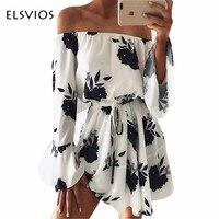 ELSVIOS 2017 Summer Floral Print Dress Sexy Off The Shoulder Slash Neck Beach Dress Casual Flare