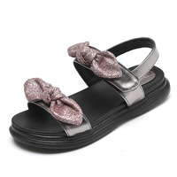 Children Sandals Girls Summer Princess Shoes Flat Fashion Bow Sandals For Girls 2018 New Kids Sandals Leather Shoes KS487