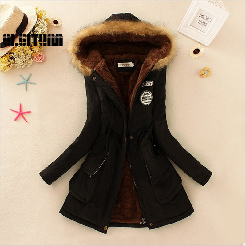 Winter women coat 2017 Women s Parka Casual Outwear Military Hooded fur Coat Down Jackets Winter