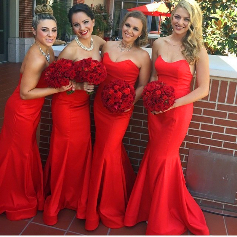 Sexy Red Mermaid   Bridesmaid     Dresses   2019 vestidos de fiesta de noche Custom Made Sweetheart Maid Of Honor   Dress