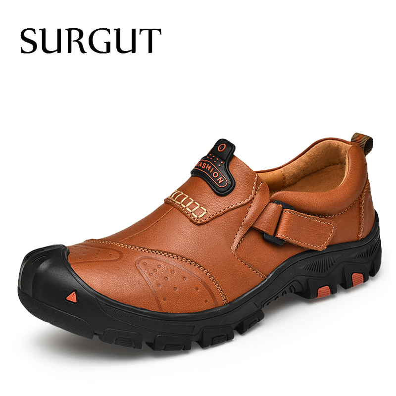 SURGUT New Men Genuine Leather Casual Shoes Brand Male Outdoor High Quality Men Flats Walking Footwear Comfortable Driving Shoes
