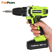 FIVEPEARS 18Volt Max Electric Screwdriver Cordless Drill Mini Wireless Power Driver DC Lithium Ion Battery 2 Speed 2 Batteries
