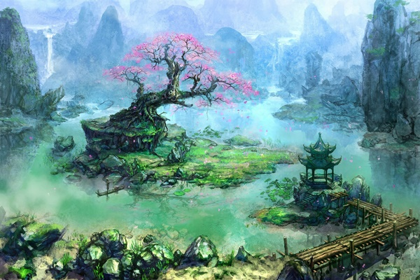 artwork fantasy art trees <font><b>Asian</b></font> architecture bonsai waterfall river pier 4 Sizes <font><b>Home</b></font> <font><b>Decoration</b></font> Canvas Poster Print