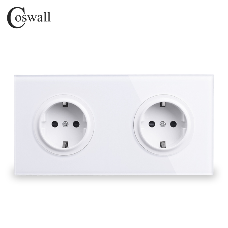 Coswall Crystal Tempered Pure Glass Panel 16A Double EU Standard Wall Power Socket Outlet Grounded With Child Protective Lock