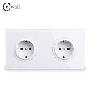 Image 1 - Coswall Crystal Gehard Pure Glas Panel 16A Dubbele Eu Standaard Stopcontact Outlet Geaard Met Kind Beschermende Lock