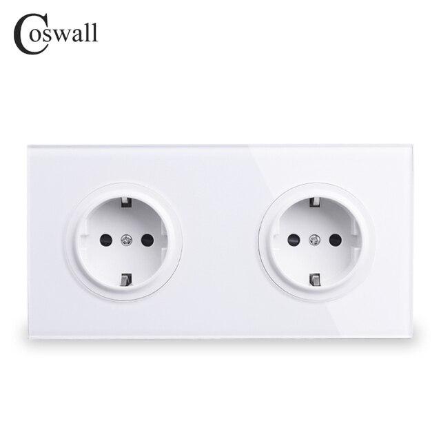 Coswall Crystal Gehard Pure Glas Panel 16A Dubbele Eu Standaard Stopcontact Outlet Geaard Met Kind Beschermende Lock