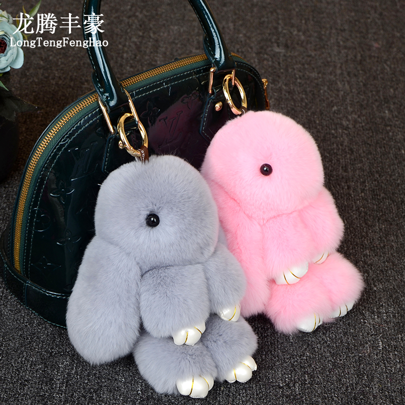 18CM Cute Pluff Bunny Keychain Rex faux Genuine Rabbit Fur Key Chain For Women Bag Toy Doll Fluffy Pom Pom Lovely Pompom Keyring chaveiro fluffy for keychain fake rabbit fur ball pom pom cute charms pompom gifts for women car bag accessories