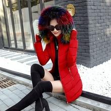 women winter jacket female coat Hooded Slim long parka Faux fur Cotton Padded  Outwear