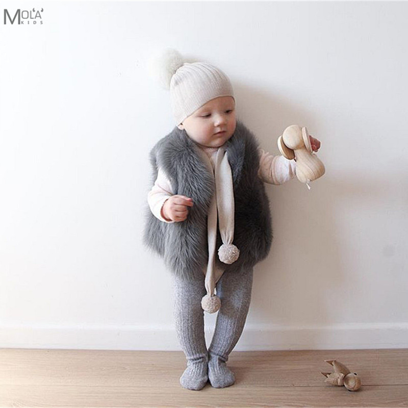 Baby Fur Coat Real Fur Clothes Infant Winter Vest Toddler Boys/Girl WInter Waistcoat Toddler faux Fur Vest Bobo Choses BEBE etosell women faux fox fur shaggy waistcoat long hair lapel vest coat camel l