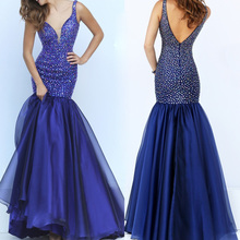 Moon Talee elegant beaded navy mermaid V evening dress