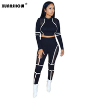 XUANSHOW Tracksuits Women Sexy Mesh Patchwork Perspective Short Shirt+Full Pants Casual Ladies 2Pcs Outfits 2019 Chandal Mujer