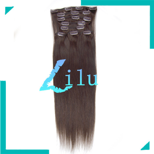 New Fashion FREE SHIPPING 20'' Natural Clip in 8pcs Hair Extension Silky Straight hair  #02