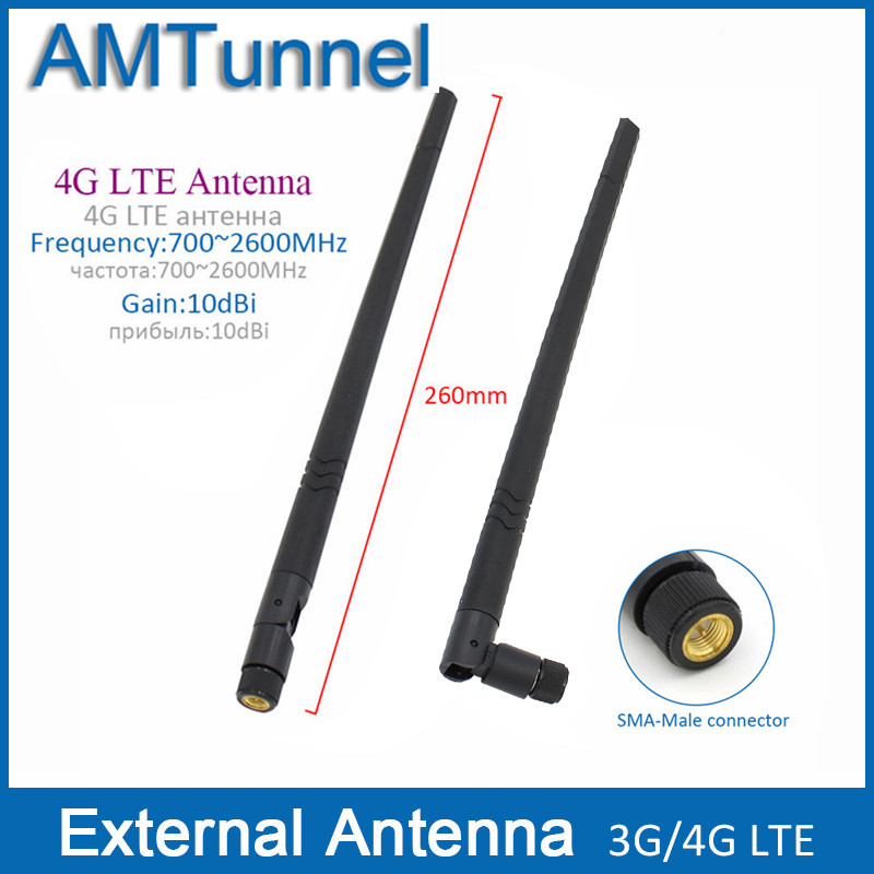 2 pcs 3G antenne 4G LTE antenne externe 10dBi 4G routeur antenne 3G antenne intérieure avec SMA mâle connecteur pour intérieur utiliser