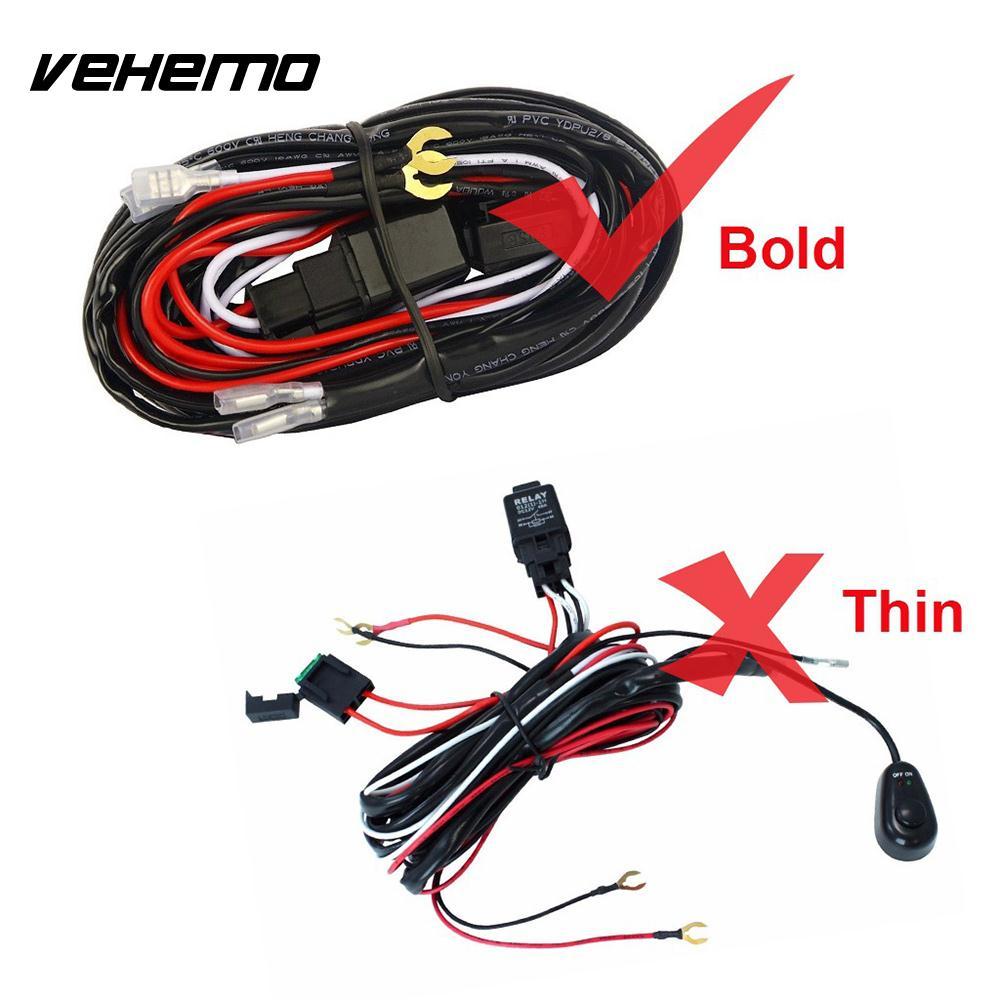 Vehemo Connecting 2 LED 12V 40A Wiring Harness Kit Line Set Fog ...