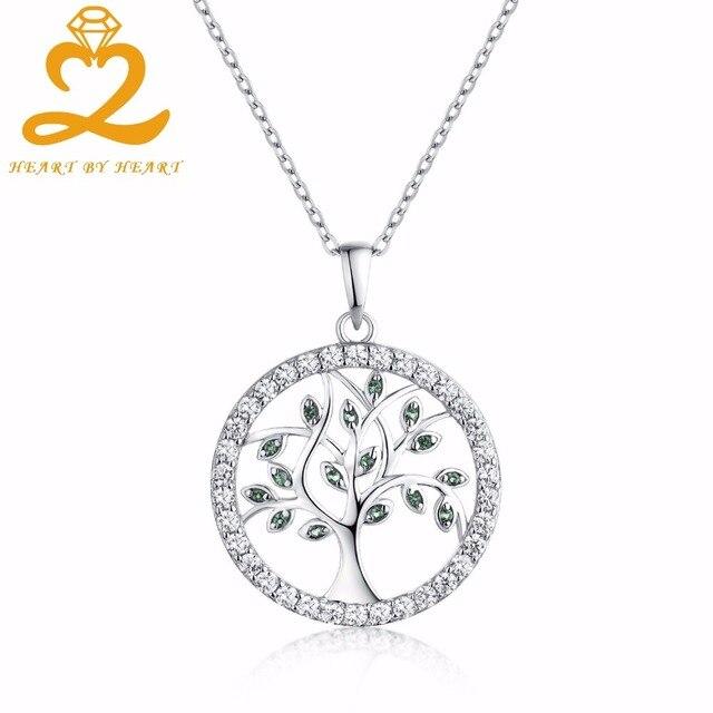 Сердце, сердце завод изумруд Цвет Подвески Ожерелья для мужчин 925 Серебряные  ювелирные изделия Древо жизни 14bc3c33f90