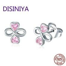 DISINIYA Royal 925 Silver Law Infinite Love Rose Heart Small Ebole Earrings Real Jewelry Earings Fashion