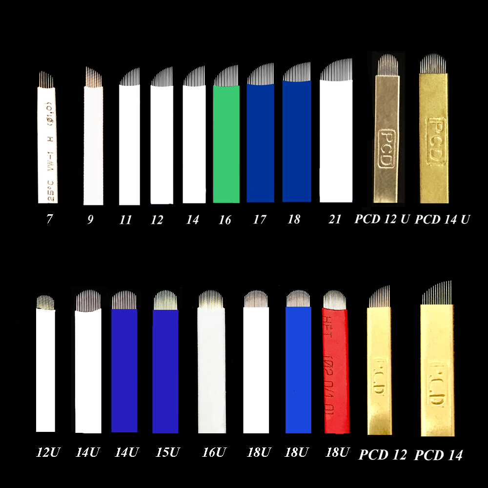 50 Pcs 0.20mm Blade Microblading Needles 12U /14 U/16U/18u/ 21u Shape For Microblading Embroidery Pen Pernement Makeup Machine