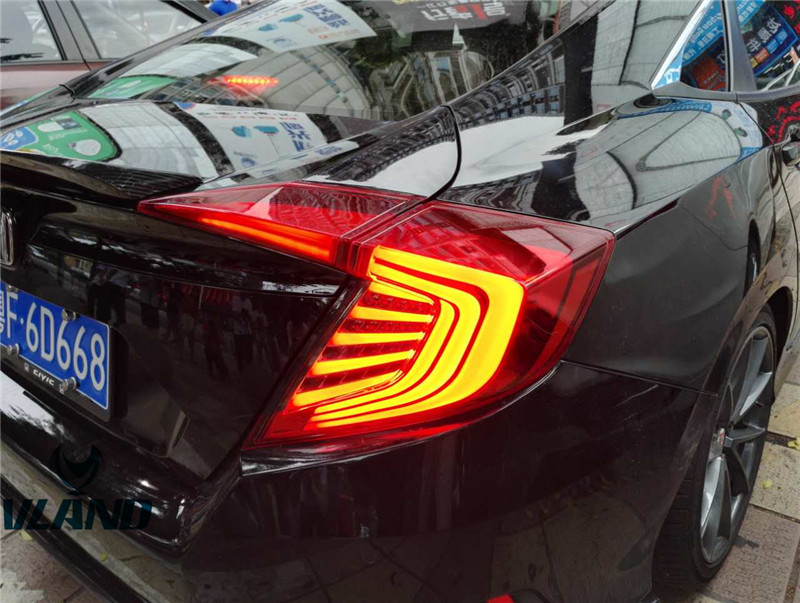 Free Shipping for VLAND Car Tail lamp For Honda Civic All-LED Taillight Brake+DRL+Signal+Reverse Lamp Plug and Play for 2016-up free shipping china vland car led tail lamp for 2008 2015 mitsubishi lancer a6l style taillight with led moving signal light