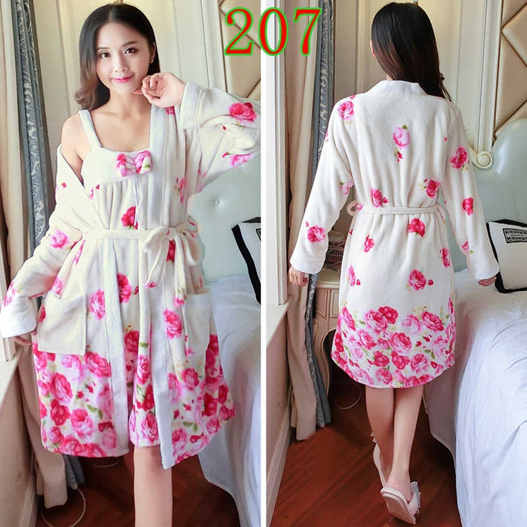 2PCS Sexy Thick Warm Flannel Robes Sets for Women 2018 Winter Coral Velvet Lingerie Night Dress Bathrobe Two Piece Set Nightgown 264