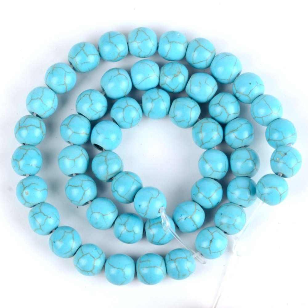 4 millimetri-12mm Sintesi Blu Turchesi Rotonda Perline di Pietra Per Monili Che Fanno 15 pollici branelli della Sfera Del Distanziatore Perline Fai Da Te artigianato Accessori