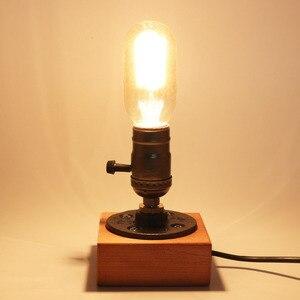 Image 2 - Lampada da tavolo retrò lampada da comodino a presa singola Base in legno lampadina Edison Vintage creativa con portalampada