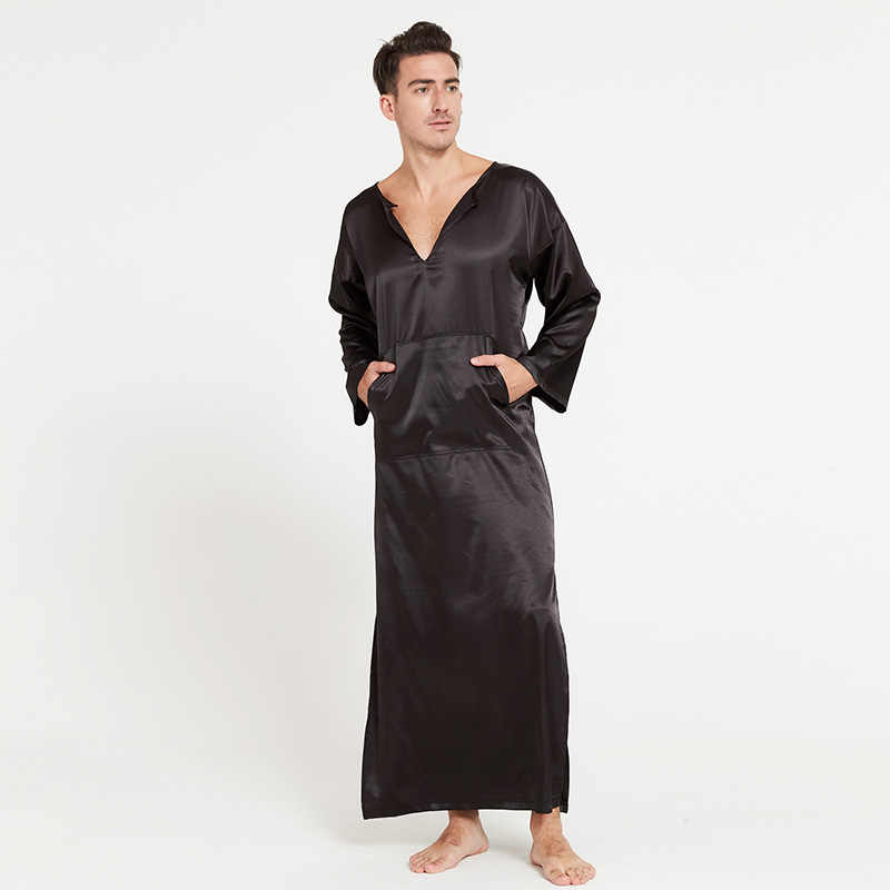 2cf207b367 Soft Silk Bath Robe Male Full Length Overpull Bathrobe Men Comfort Wear  Sleepwear Kigurumi Pajamas Peignoir