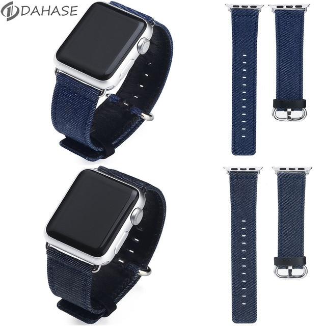 43e18b18e629e3 Niebieski Denim bransoletka tkaniny pasek na pasek do Apple Watch 42mm 38mm  Sport Jean od zegarków