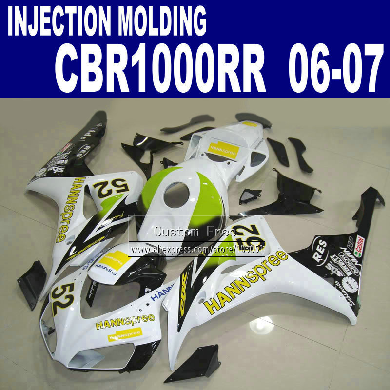 7gifts Injection molding motorcycle fairings for 2006 2007  CBR1000RR CBR 1000 RR 06 07 CBR 1000RR HANNSPREE body fairing kits