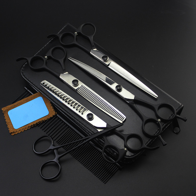 6 kit Professional Japan 440c 7 inch pet dog grooming hair scissors curved cutting shears thinning barber hairdressing scissors 4 kit professional 8 inch pink pet grooming shears cutting hair scissors case dog grooming thinning barber hairdressing scissors